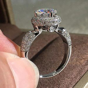 NEW 925 Silver Round Diamond Halo Engagement Ring